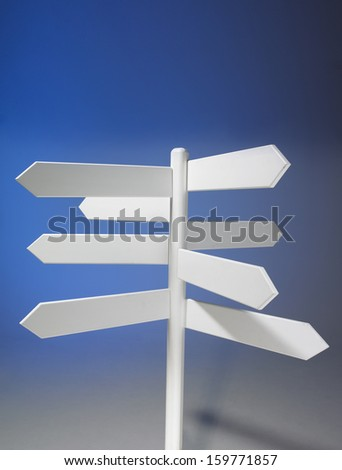 White unmarked signpost