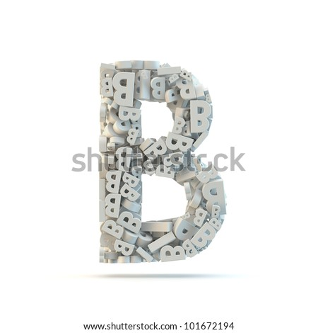 White uppercase letter B isolated on white. Part of high resolution graphical alphabet set. - stock photo