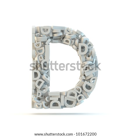 White uppercase letter D isolated on white. Part of high resolution graphical alphabet set.