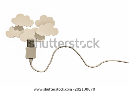 white usb cable connected with clouds - stock photo