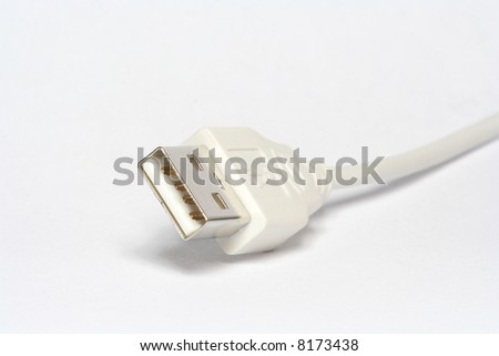 White usb connector on white background - stock photo