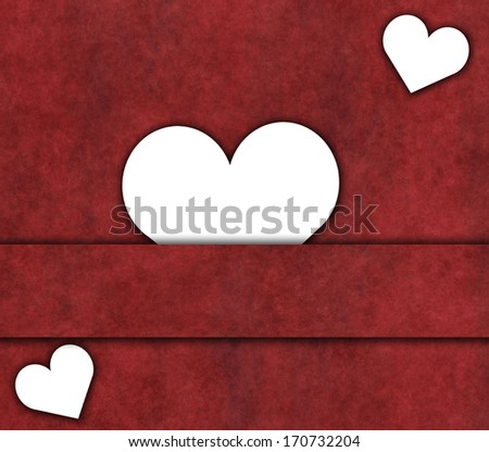 white valentine hearts on red background
