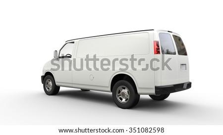White Van Back View - stock photo