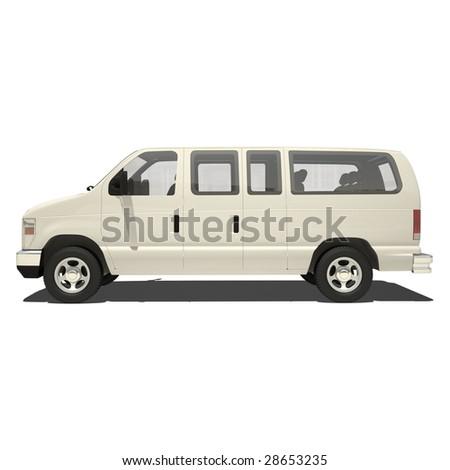 white van isolated - stock photo