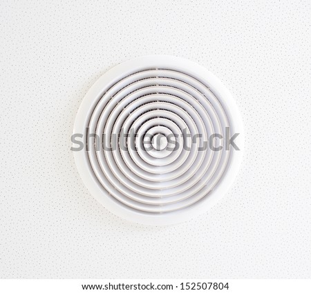 White vent hole in the ceiling - stock photo