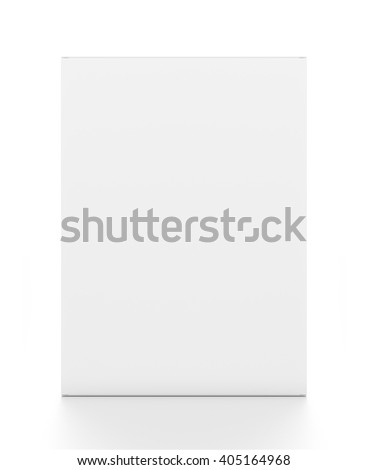 White vertical rectangle blank box from front angle. 3D illustration isolated on white background.