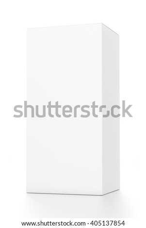 White vertical rectangle blank box from front far side angle. 3D illustration isolated on white background. - stock photo