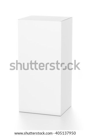 White vertical rectangle blank box from top front far side angle. 3D illustration isolated on white background. - stock photo