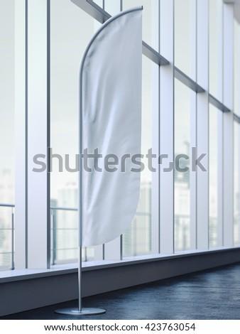 White vertical wind banner on black floor. 3d rendering - stock photo