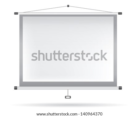 White video projector on white wall - stock photo