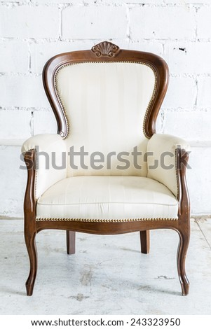 White Vintage classical farbirc style Chair - stock photo