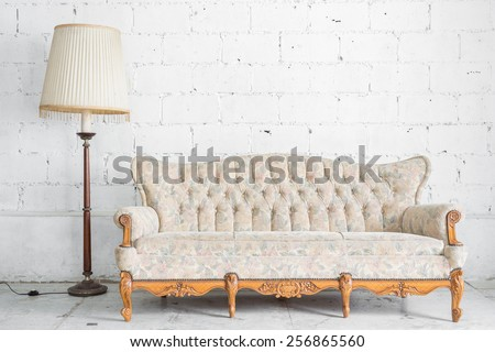 White Vintage classical style Sofa bed with lamp - stock photo
