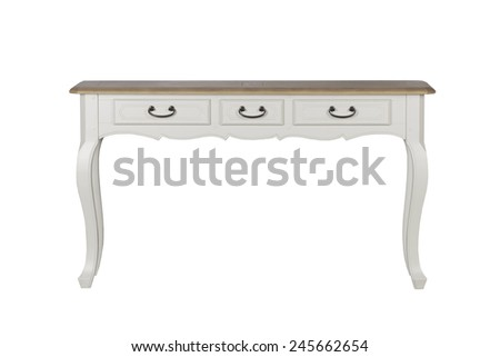 White vintage hard wood table with drawer isolated on white background - stock photo