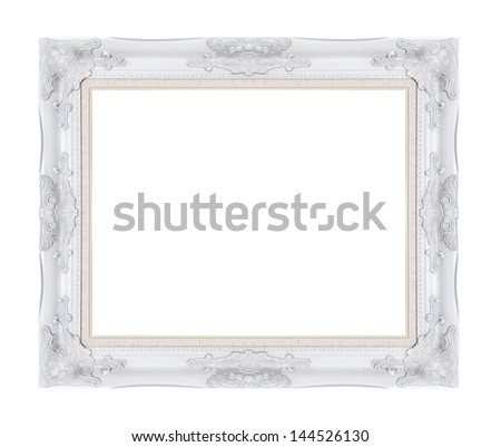 White vintage picture frame isolated on white background. - stock photo
