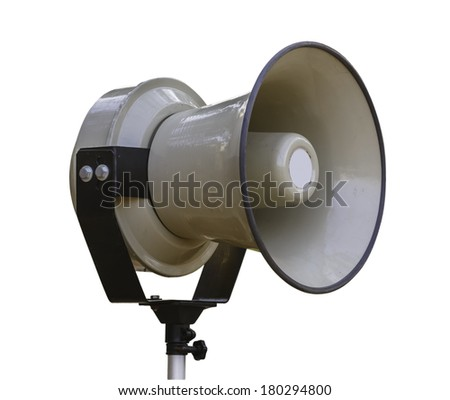 white vintage speaker on the stand isolated on white with clipping path - stock photo