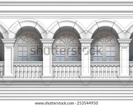 White Vintage Windows Arc - stock photo