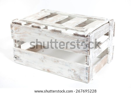 white vintage Wooden box isolated on a white background - stock photo