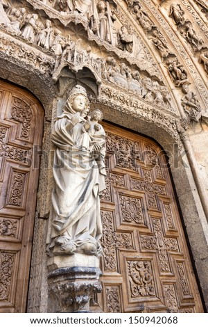 White Virgin on the Door of the Judgment, Leon cathedral, Spain  - stock photo