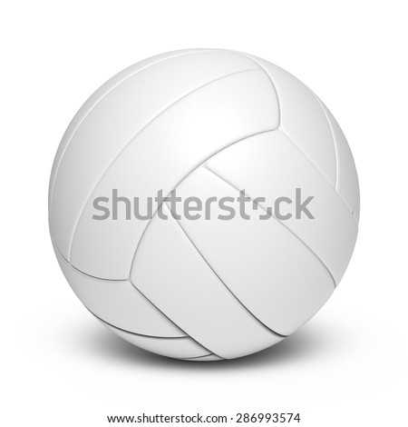 White volleyball leather ball - 18 segments - stock photo