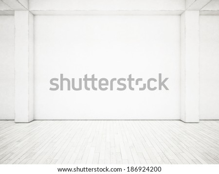 White wall and wood floor - stock photo
