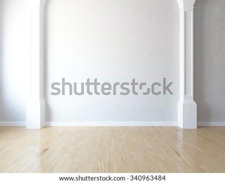 White wall. 3d illustration - stock photo