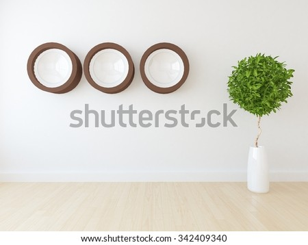 white wall. 3d rendering - stock photo