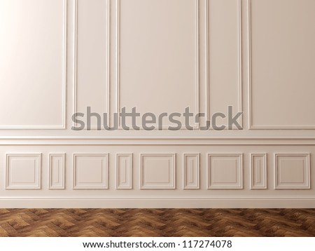 White wall in a classic style and a beautiful dark flooring can be used as background - stock photo