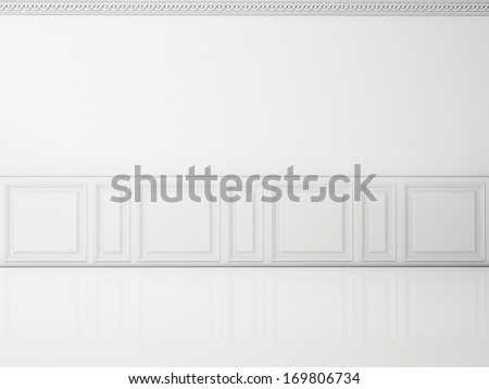 White wall in a classic style  and reflection white floor - stock photo