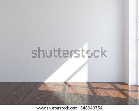 White wall. Interior background. Example for your interior. 3d illustration - stock photo