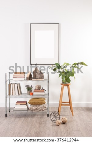 white wall office metal shelving stool with frame decoration - stock photo