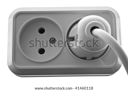 White wall outlet isolated on white