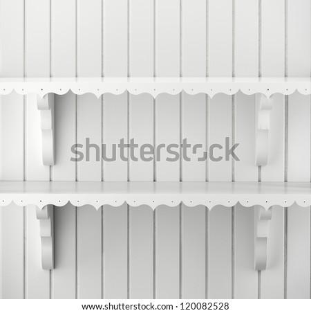 white wall shelves - stock photo