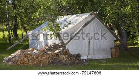 white wall tent in Montanau0027s back country & White Wall Tent Montanas Back Country Stock Photo 75147808 ...