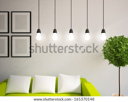 white wall with bulbs - stock photo
