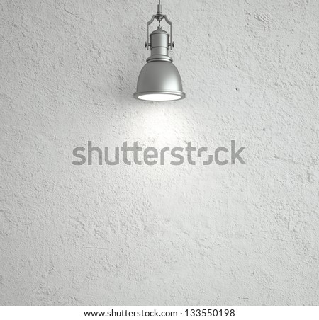 white wall with ceiling lamp - stock photo