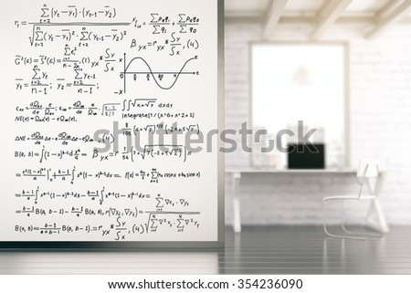 White wall with equations in loft room with white table 3D Render - stock photo