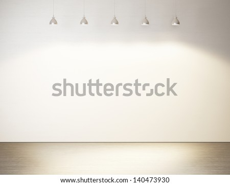white wall with lamps - stock photo