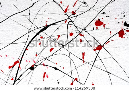 white wall with modern abstract art  details - stock photo