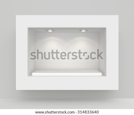 White wall with niche and empty pedestal for exhibition. - stock photo