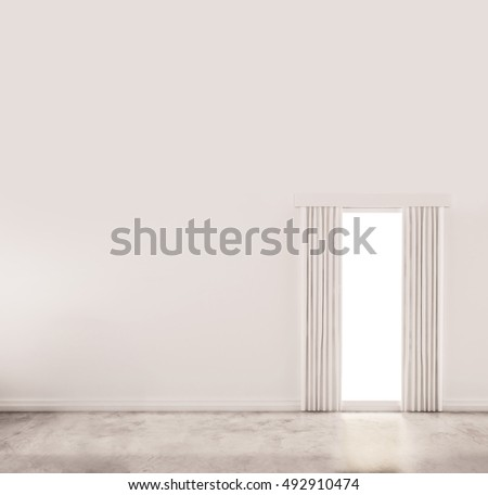 White wall with polished concrete floor, and window with curtain