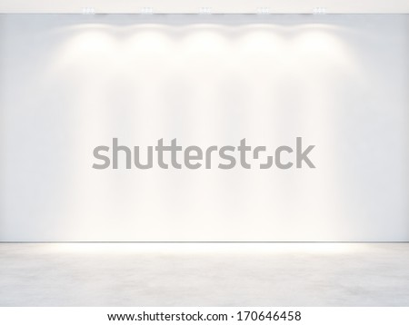White wall with spotlights - stock photo