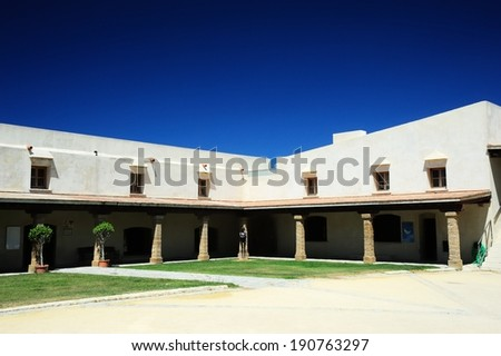 White Walled Building in a Courtyard