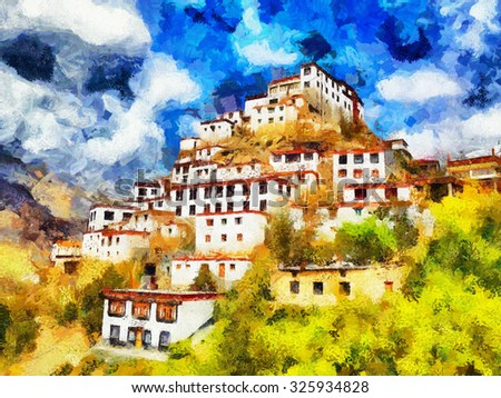 White walled tibetan style monastery on top of hill oil painting - stock photo