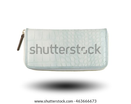 White wallet bag fashion isolated on white background and have clipping paths.