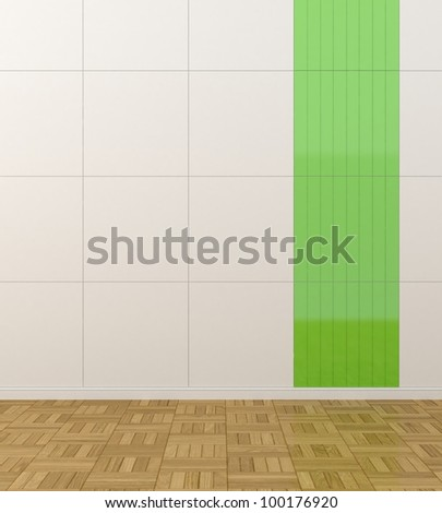 white walls with green tiles - stock photo