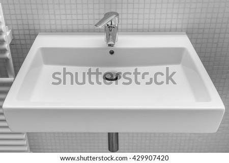 white wash basin closeup - stock photo