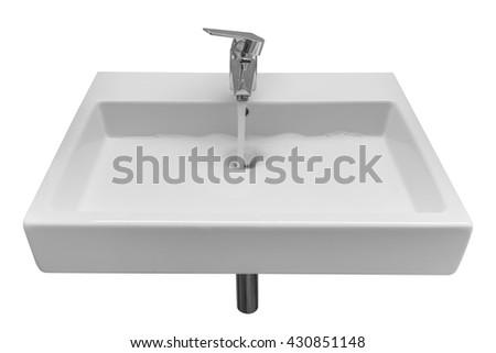 white wash basin isolated on white background - stock photo