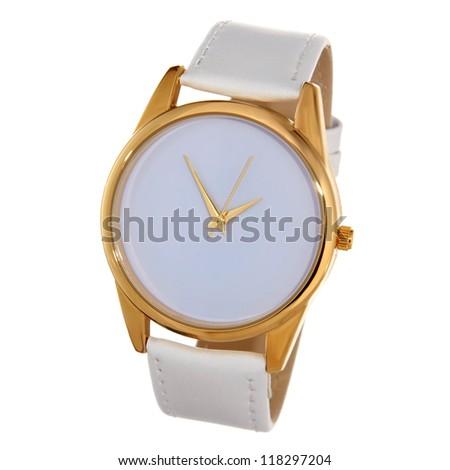 white watch with white wristlet isolated on white - stock photo