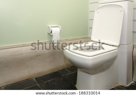 White water closet in the bathroom. - stock photo