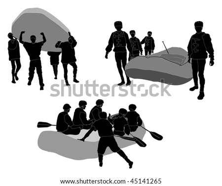 White water rafters - Silhouette (going in / coming out) - stock photo